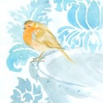 A winter robin on a blue ornate background