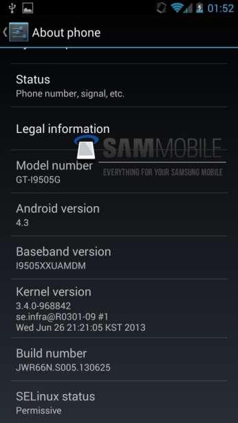 Android 4.3 en un Galaxy S4 Google Edition