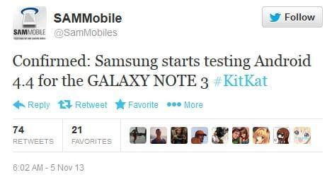 Android 4.4 Kitkat para el Galaxy Note 3