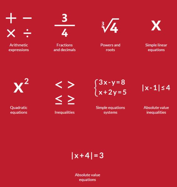 PhotoMath operaciones comunes