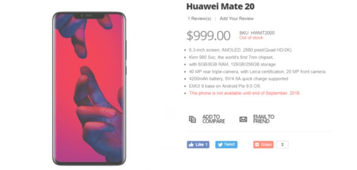 ¡Tenía que pasar! El Huawei Mate 20 se filtra en una tienda online
