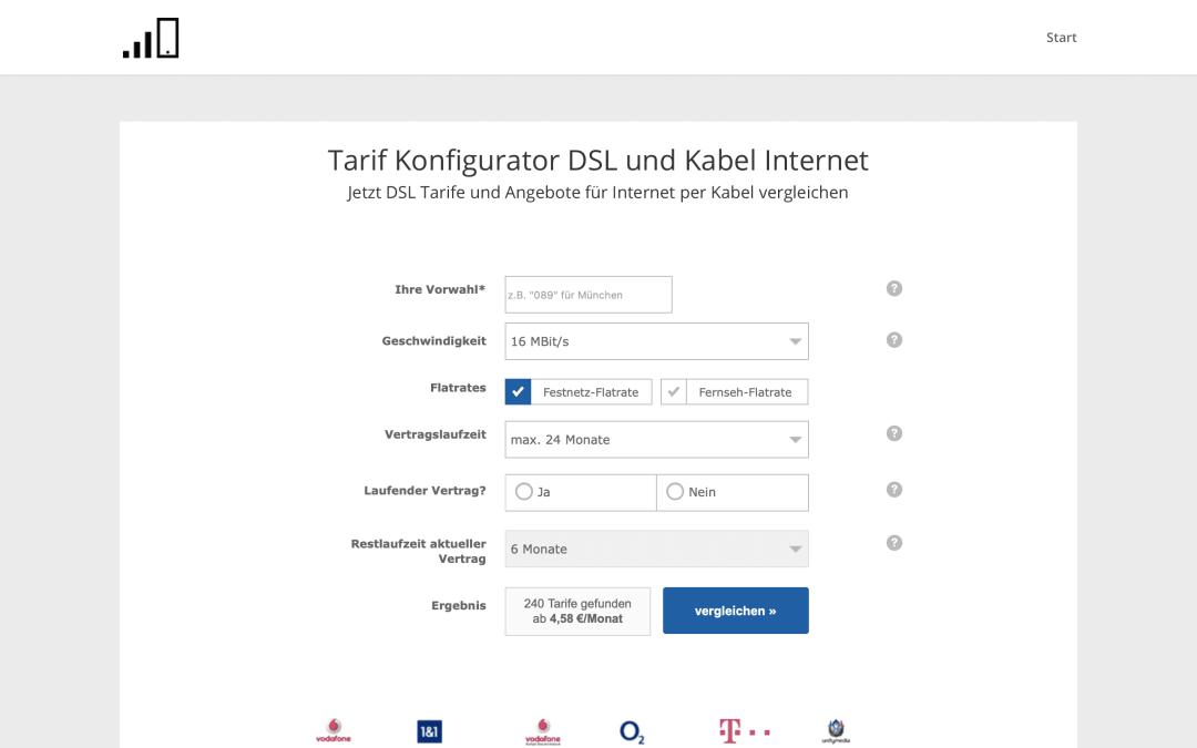 DSL und Kabel Tarifvergleich Webseite