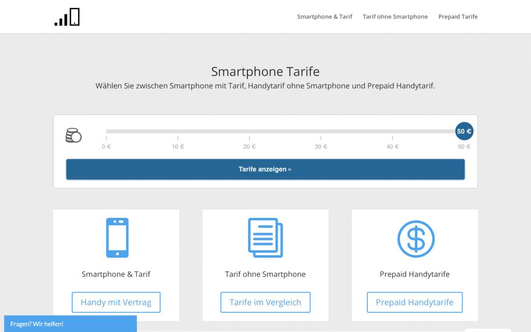 Smartphone Tarife Vergleich Webseite