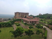 The gardens and the Hawa Mahal at the far back