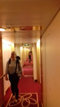 Narrow hallways that lead to our cabin on the ship