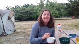 Enjoying 2-minute noodles for dinner at San Simeon campsite