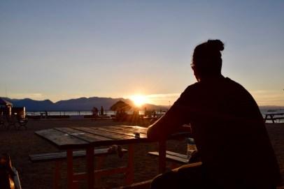 Charlene enjoying the sunset at Lake Tahoe