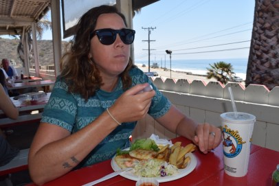 Charlene tucking into delicious seafood at Malibu Seafood restaurant