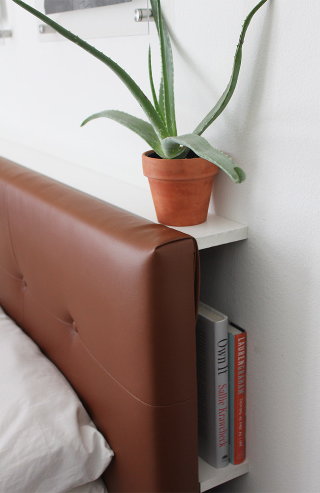 upholstered headboard DIY shelves