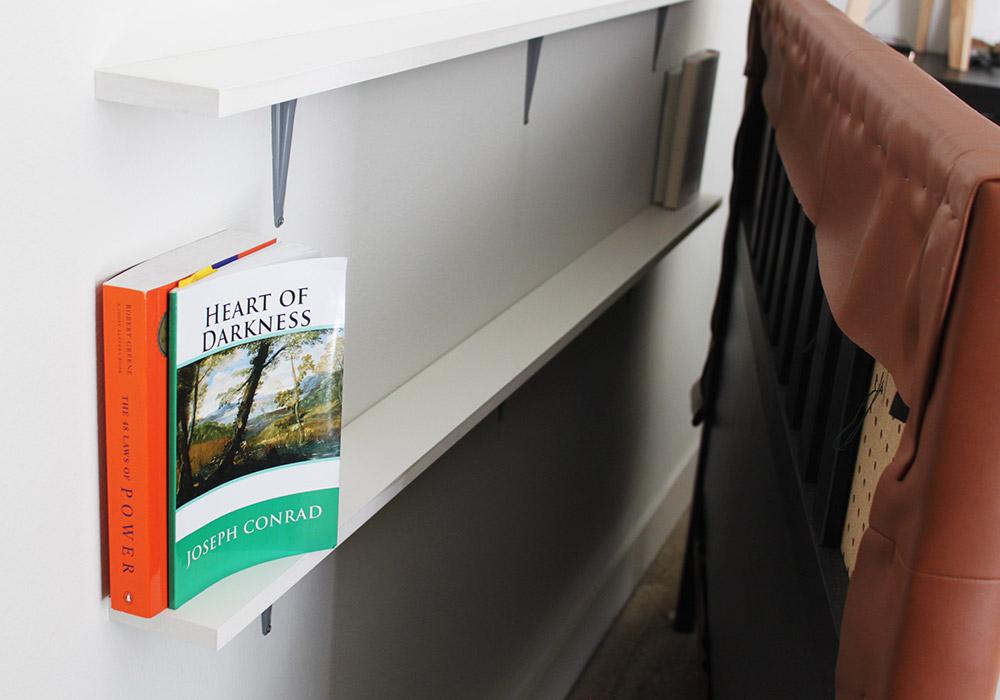 DIY upholstered headboard shelves