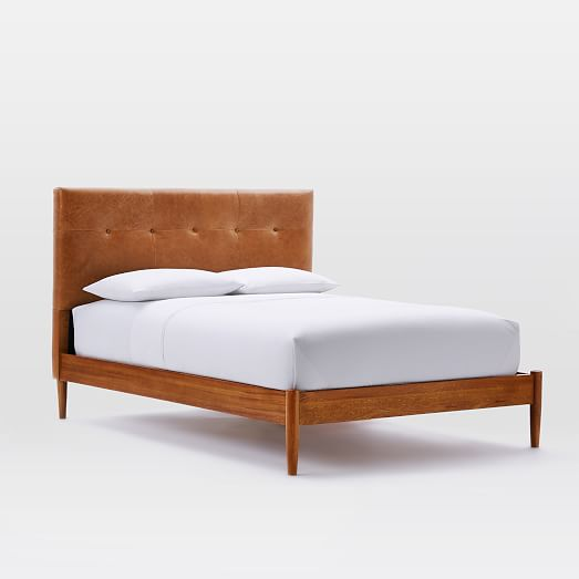 mid century tufted leather headboard
