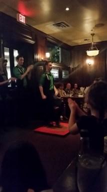 Enjoying the show at Raglan Road Pub - Irish dancing in-house