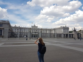 Walking up to the Royal Palace of Madrid