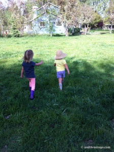 Z walking around with one of her many cousins. Two little country girls.