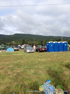 Camping. Those port-o-potties won't be this clean later...