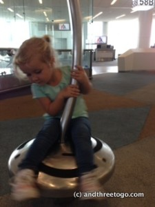 """Zoë on the """"Spinning Thing""""."""
