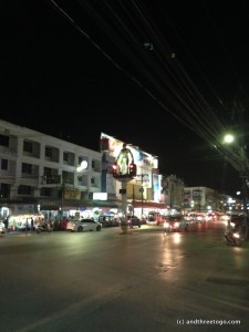 The traffic lights in Krabi Town near the night market are giant ape men.