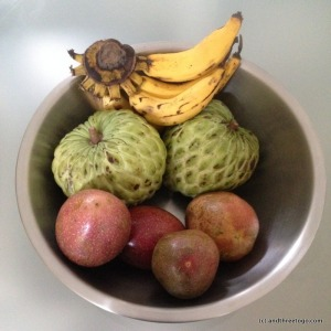 I love the fresh fruit here in Thailand. Recently, Chad and I have been on a juice detox and I have been loving it. In this picture I have bananas, passion fruit, and custard apples (my new favorite).