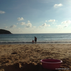 A day at Nai Harn beach. Chad and Z playing in the waves.