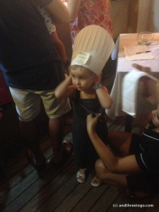 Z loves being a chef. She got her chance to really be one, and made her own pizza at a nearby restaurant.