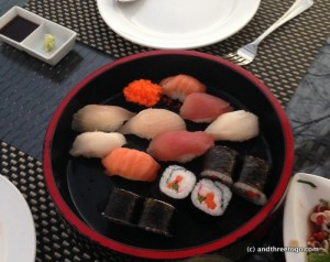 A Sushi assortment for an appetizer (yep-we were hungry) and it only cost 250 baht (about $7 U.S.)!
