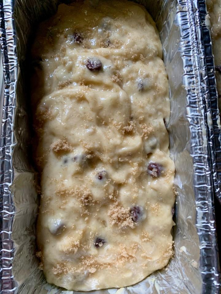 banana bread dough in a loaf pan
