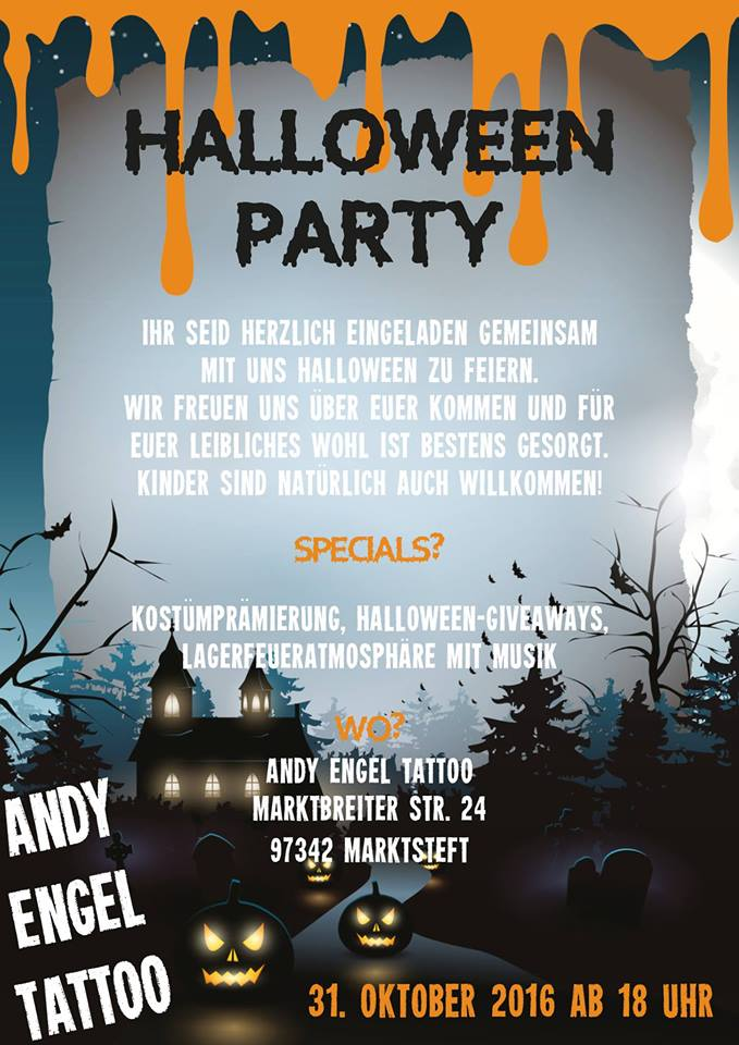 Termine - Dates: Halloween Party presented by Andy Engel Tattoo