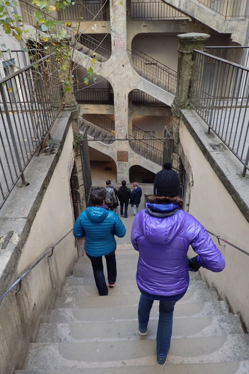 M & I walking down Les Traboules