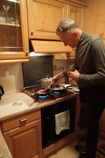 Graeme checking the steak