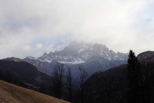 Snow showers over the mountains near Sottoguda