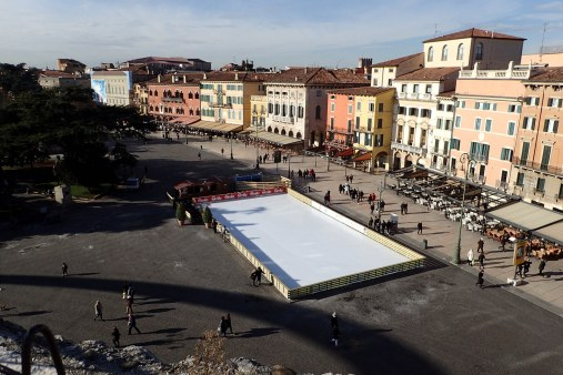 View of Piazza Bra from top of Arena