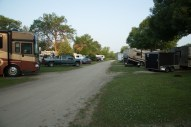 Looking along the road behind our site at Albert Lea KOA
