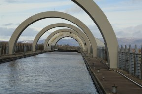 Falkirk wheel in place at the end of the aquaduct