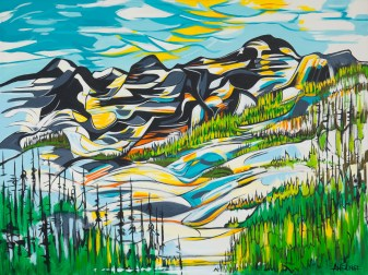 Rainbow Lake, size 36x48 in., canvas giclée print available in size R1,R3,R6