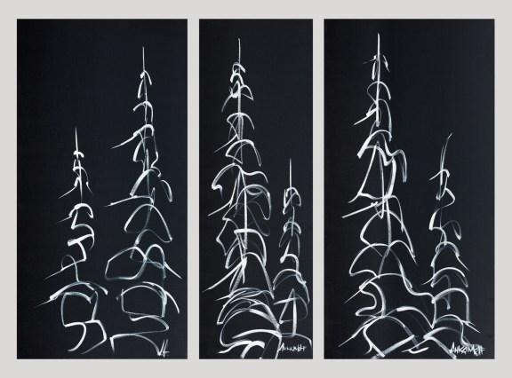 Night Tree Series, size 18x36 12x36 18x36 in., originals sold, hand detailed, clear coated giclée print $1200 (set of three)