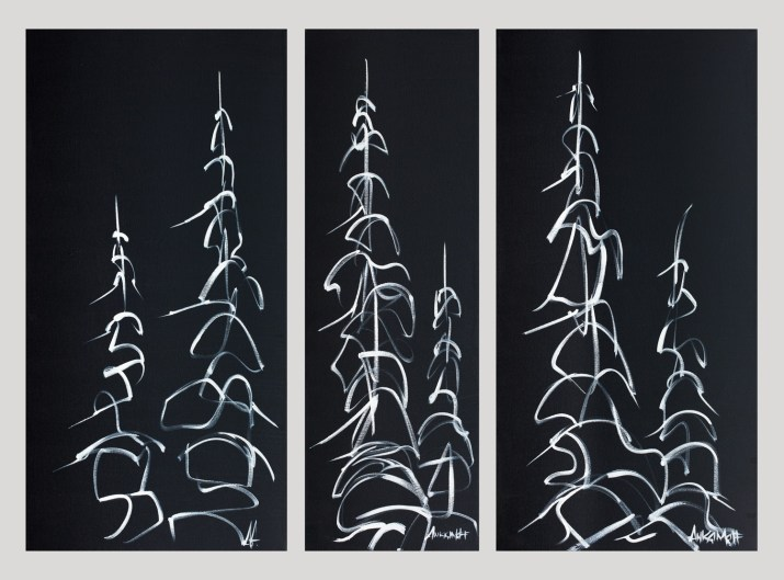 Night Tree Series, size 18x36 12x36 18x36 in., hand detailed, clear coated giclée print $1200 (set of three)