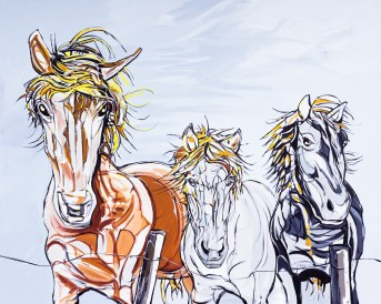 Icelandic Ponies, 40x32 in., canvas giclée print available in original size as limited edition print