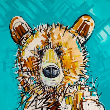 Impression Bear, size 48x48 in., original sold, canvas giclée prints available in size S2,S3,S4,S5