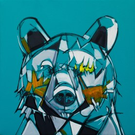 Surface Series - Bear, size 24x24in., original sold, canvas giclée prints available in size S1,S2