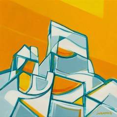 Orange Tusk, original size 24x24 in., original sold, canvas giclée print available in sizes S1,S2