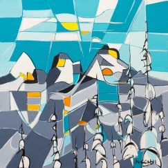 Squamish Three Sisters, original size 24x24 in., original $900, canvas giclée print available in sizes S1,S2