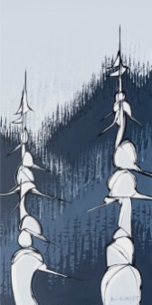 Crystal Trees, original size 18x36 in., canvas giclée print available in sizes L1,L2