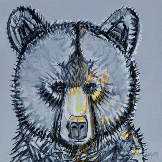 Juvenile Bear, original size 24x24 in., original $1900, canvas giclée print available in sizes S1,S2,S3