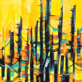Abstract Sunset Trees, original size 36x36 in., original sold, canvas giclée print available in sizes S1,S2,S3,S4