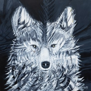 Drifter Wolf, original size 36x36 in., original $2700, canvas giclée print available in sizes S1,S2,S3,S4