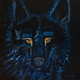 Shadow Wolf, original size 36x36 in., original sold, canvas giclée print available in sizes S1,S2,S3,S4