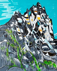 Mt. Cayley, size 48x60 in., original $3200, acrylic on canvas, canvas giclée print available in size R8,R12,R15