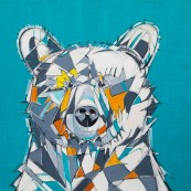 PopArt Bear, size 60x60 in., original sold, canvas giclée print available in size S4,S5,S6