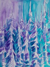 Purple Trees, size 36x48 in., original $2900, canvas giclée print available in size R3,R6,R7