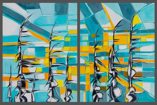Wind Sunset (2 paintings) size 36x48 in. each, originals sold, canvas giclée print available in size R3,R6,R7 each